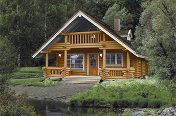 Log cabin on lake